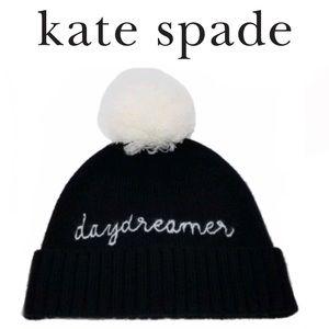 Kate Spade Daydreamer Pom Cuff Beanie, Black/whi💎